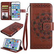 Strap Flip Wallet Protective Stand Leather Case Cover Mandala Flower For iPhone