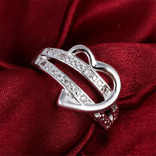 Womens CZ White Gold Plated GP Engagement Wedding Band Ring  Double Heart Rings