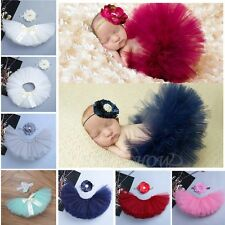 Newborn Toddler Baby Girl Tulle Tutu Skirt&Headband Photo Props Costume Outfit