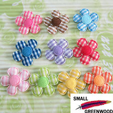 "(U Pick) Wholesale 100-500 Pcs. 1"" Padded Felt Gingham Flower Appliques F2710"