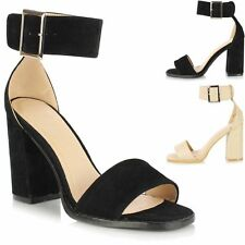 Ladies Black Block High Heel Barely There Open Peep Toe Ankle Strap Sandal Shoes