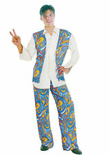 Fancy Dress 70's Mens Cool Dude Hippy Man Costume Psychadellic Blue Set Hippie