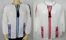 Michael Kors Embroidered  Boho Voile Peasant Top Shirt U Pick Color Size