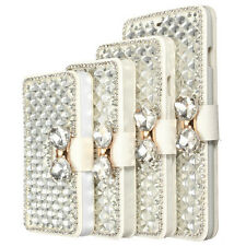 Luxury Bowknot Bling Diamond Wallet Phone Flip Case Cover Protector For iPhone