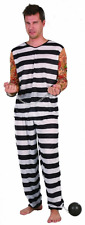 Prisoner Costume Mens Jail Bird Striped Vest Trousers Tattoo Sleeves Arms Suit