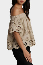 NEW Piper Off Shoulder Embroidered Top Taupe