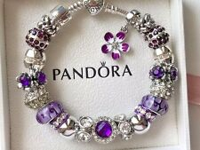 Authentic PANDORA S925 ALE Heart Clasp Silver Bracelet with Murano Glass Beads