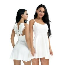 Sexy Womens Plunge V  Angel Wings Open Back Evening Party Skater Mini Tutu Dress