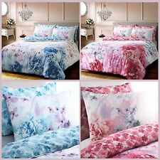 Painted Floral Duvet Quilt Cover with Pillow Case Bedding Blue & Pink All Size