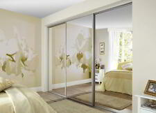PRECISION MADE TO MEASURE FITTED MIRROR SLIDING WARDROBE DOORS & TRACK SET