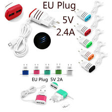 1M Over 2A 2 USB Ports EU Plug Wall Travel Charger With Micro USB Cable Adapter