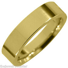 MENS WEDDING BAND ENGAGEMENT RING YELLOW GOLD COMFORT FIT GLOSS FINISH 5mm