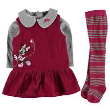 Disney Baby Official Minnie Mouse Peter Pan Collar Top Dress And Tights Set