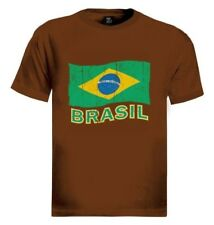 Brasil Flag T-Shirt Distressed soccer football  World cup Olympics Logo Tee