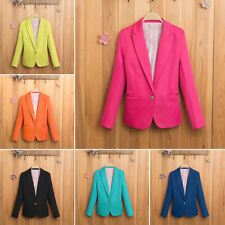 Stylish Women Casual Slim Solid Suit Blazer Jacket Candy Color Outwear XS-XL