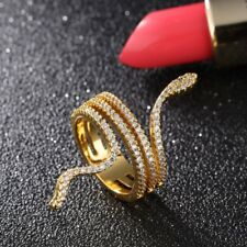 Women Punk Fashion Gold Plated Stainless Steel CZ Snake Ring Hiphop Jewelry Gift