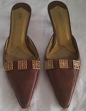 Givenchy Heels 38 Brown Leather Gold Plate Logo Slides Made In Italy Pumps