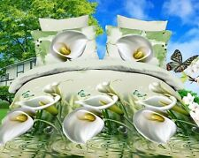 3D Duvet Cover Pillowcase Quilt Cover Bedding Set Queen White Calla Lily Bed LXH