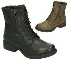 WOMENS LACE UP ZIP STAR COMBAT BIKER MILITARY LOW HEEL WORKER ANKLE BOOTS SHOES