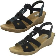 Ladies Rieker Antistress Wedge Sling Back Square Cut Out Sandals - 62488