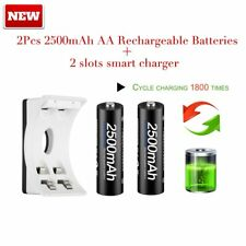 PALO 2X NI-MH AA 2500mAh Rechargeable Batteries +2 slots smart Battery charger F