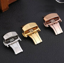 12-22mm Stainless Steel Buckle Butterfly Deployant Watch Band Clasp POP
