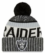 New Era NFL Onfield Oakland Raiders Bobble Knit Beanie Hat