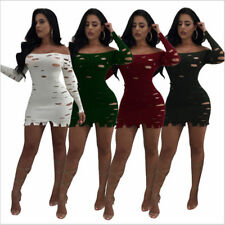 Off Shoulder Mini Bodycon Dress Evening Party Fashion Long Sleeve Sexy Womens