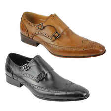 Mens Real Leather Monk Strap Smart Formal Slip on Brogues Shoes Black Brown Size