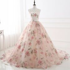 Elegant BallGown Organza Prom Dresses Applique Printed Evening Party Formal Gown
