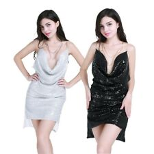 Deep V Neck Metal Chain Halter Sequined Dress Party Evening Club Backless Dress