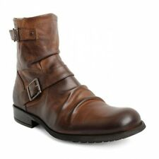Base London METAL Mens Waxy Leather Zip Up Biker Rubber Grip Sole Boots Tan