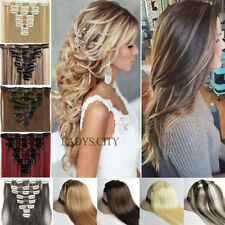 Real Human Thick Clip In Hair Extensions Full Head 8 Piece On Long As Human Hair