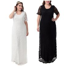 Womens Wedding Maxi Long Dress Evening Party Cocktail Lace Gown Plus Size 12-16