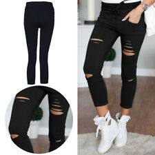 Ladies Pants Skinny Leggings Trousers New Womens Stretchy  Faded Ripped Slim Fit