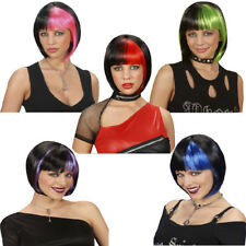 Punk Festival Dance Fancy Dress Zoey Wig Short Black Bob with Streaks Prop Rock