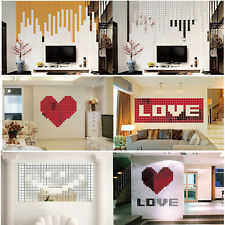 100pcs DIY 3D Mirror Acrylic Wall Stickers Creative Block Home Decors for Family