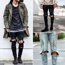 Mens Straight Hole Ripped Jeans Stretch Denim Distressed Frayed Pants Size 29-36