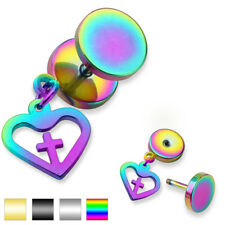 Unisex Earring Fake Plug made of surgical steel Stainless 316L Heart with Cross