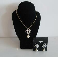 Gold Plated Celtic 2 Intertwined Looping Trinity Knot Pendant Necklace Earrings