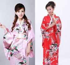 Pink & Red Japanese Peacock Kimono Vintage Yukata Haori Costume Geisha Dress Obi