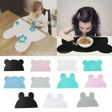 Cute Kids Silicone Bear Rabbit Shaped Kitchen Placemat Pad Dining Table Mats