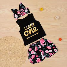 Girls Summer Clothing Sets Baby Kids Letter Print Outfits Tee+Shorts+Headband