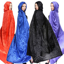 Adult Cloak Halloween Costume Dress Witch Cosplay Velvet Hooded Long Cape New