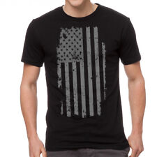 American Flag Patriotic Distressed Design Men's Black T-shirt NEW Sizes S-2XL