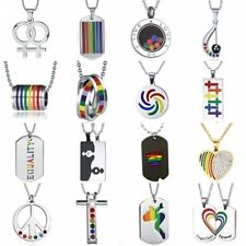 Rainbow LGBT Gay & Lesbian Pride Stainless Steel Crystal Heart Love Necklace