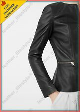 Women's Genuine Lambskin Leather Jacket Black Slimfit Biker Motorcycle Jacket 21