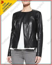 Women's Genuine Lambskin Leather Jacket Black Slimfit Biker Motorcycle Jacket 44