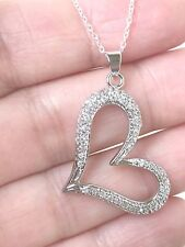 Genuine 925 Sterling Silver Open Heart pave CZ Women's Necklace