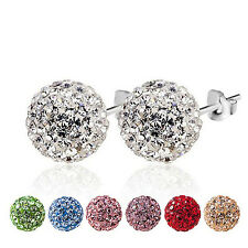 1 Pair CZ Crystal Disco Ball Stud Silver Plated Charm Earrings 6mm 8mm 10mm CHIC